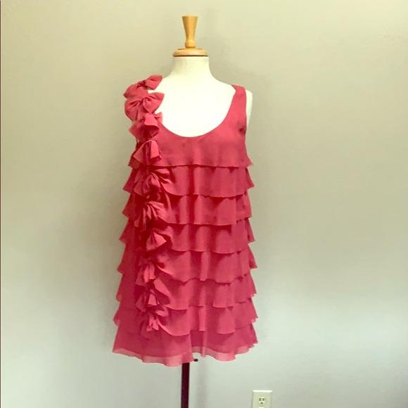 Cute pink layered chiffon ruffle party dress bows
